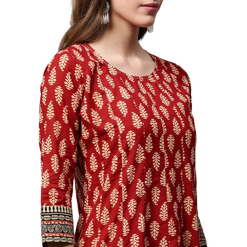 Red printed 3/4th sleeve cotton long Anarkali kurta