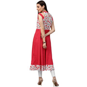 Red printed 3/4th sleeve cotton kurta