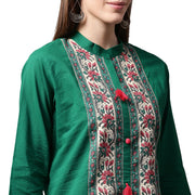 Green printed 3/4th sleeve cotton kurta