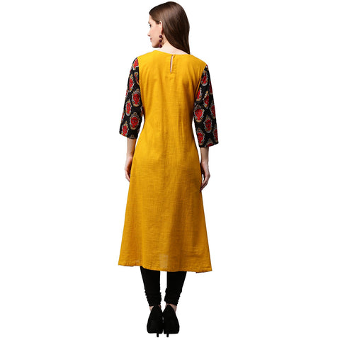 Yellow 3/4th sleeve Cotton A-line kurta with printed yoke