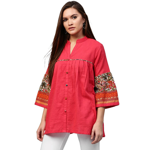 Peach 3/4th sleeve cotton tunics with button work