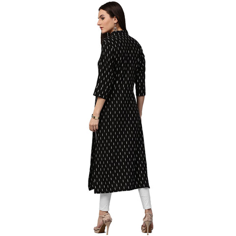 Black printed 3/4th sleeve cotton kurta with tussel work