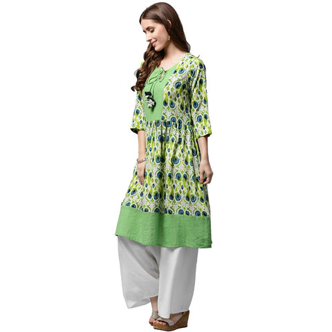 Green printed 3/4th sleeve Anarkali kurta with dori work at yoke