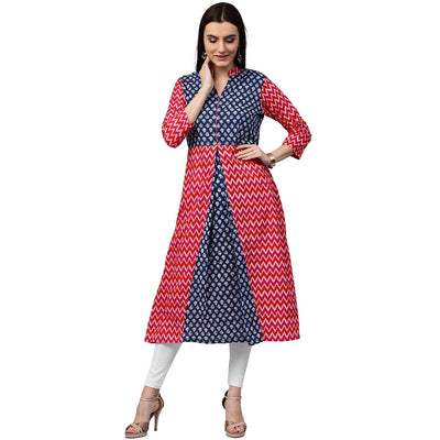 Red & Blue printed 3/4th sleeve cotton A-line kurta