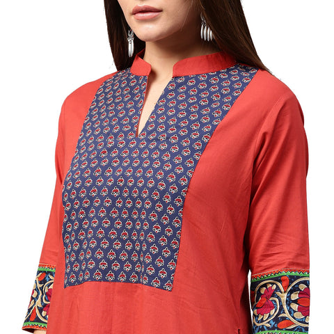 Red 3/4th sleeve cotton A-line kurta with printed yoke