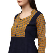 Blue & yellow printed 3/4th sleeve cotton Short A-line kurta