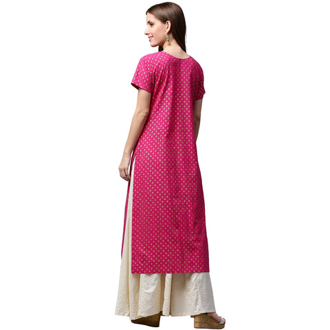 Pink & Green printed short sleeve cotton A-line kurta