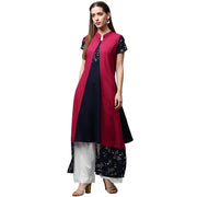 Blue printed short sleeve crepe A-line kurta with pink jacket