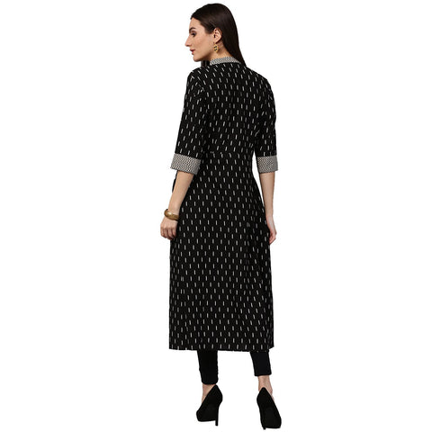 Black printed 3/4th sleeve cotton A-line kurta with pocket