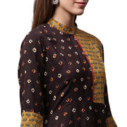 Coffee brown printed 3/4th sleeve Rayon A-line Kurta