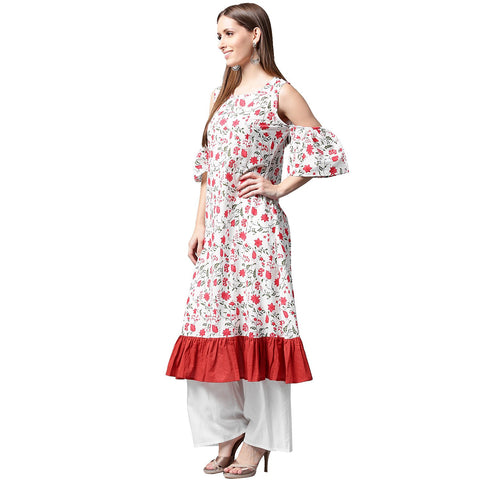 White flower printed half sleeve cold shoulder cotton A-line kurta