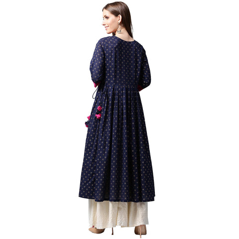Navy blue printed 3/4th Sleeve Cotton Anghrakha style Anarkali Kurta