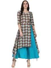 Coffee Brown printed half sleeve cotton Low high kurta with Blue flared skirt
