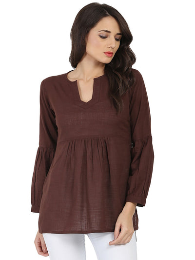 Coffee brown 3/4th sleeve cotton slub tunic