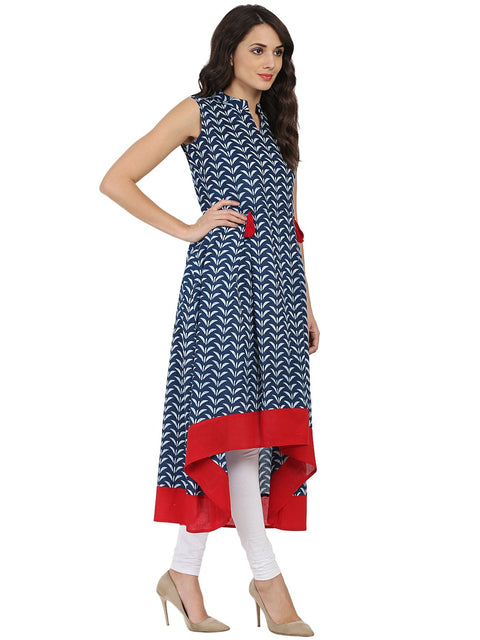Blue printed sleeveless cotton A-line kurta