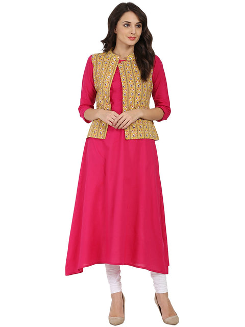 Pink 3/4th sleeve cotton A-line kurta with yellow printed Jacket