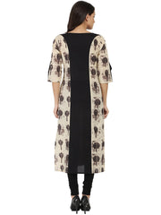Black & Beige printed 3/4th sleeve cotton A-line kurta