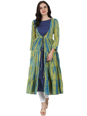 Blue printed cotton kurta with green printed full sleeve tiered Anarkali shape Ankle length jacket
