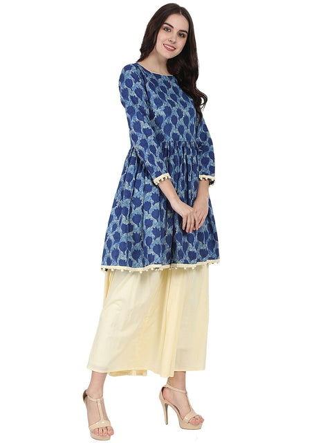 Blue printed 3/4th sleeve cotton anarkali kurta with Beige flared skirt