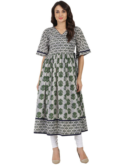 Grey printed half sleeve Cotton Anarkali kurta