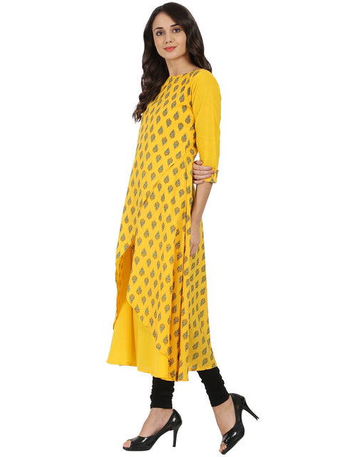 Yellow printed 3/4th sleeve cotton double layer A-line kurta