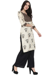 Beige printed 3/4th sleeve cotton kurta
