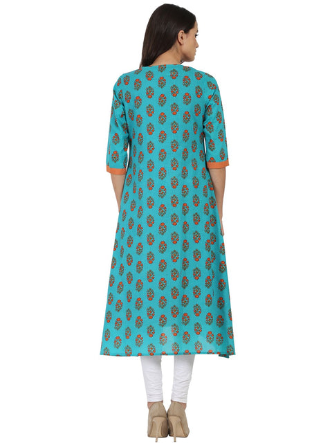 Blue printed 3/4th sleeve cotton Double layer A-line kurta