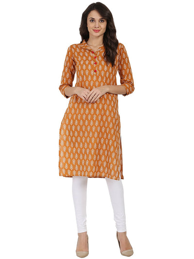 Mustard printed 3/4th sleeve Cotton Kurta with button work at yoke