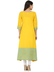 Yellow printed 3/4th sleeve cotton A-line kurta