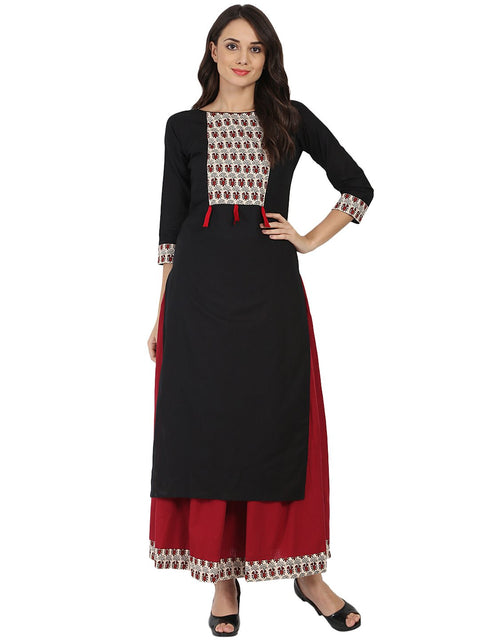 Black 3/4th Sleeve cotton kurta with Maroon flared skirt