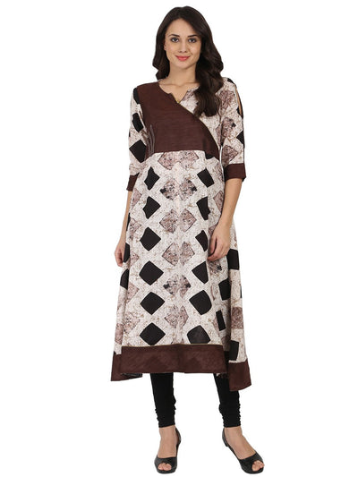 Black printed 3/4th sleeve cotton slub Angrakha kurta
