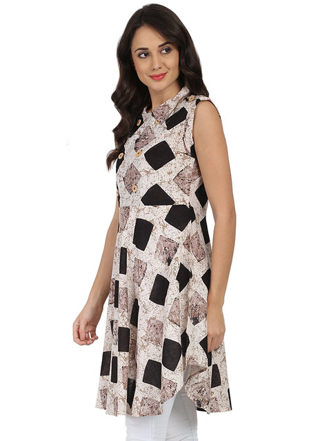 Black printed sleeveless cotton A-line kurta
