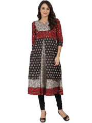 Black printed 3/4th sleeve double layer cotton Anarkali kurta