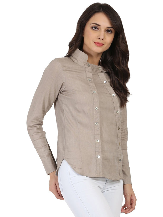 Light Grey full sleeve Rayon slub Tunic