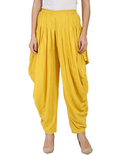 Yellow rayon slub Ankle length pleated Dhoti