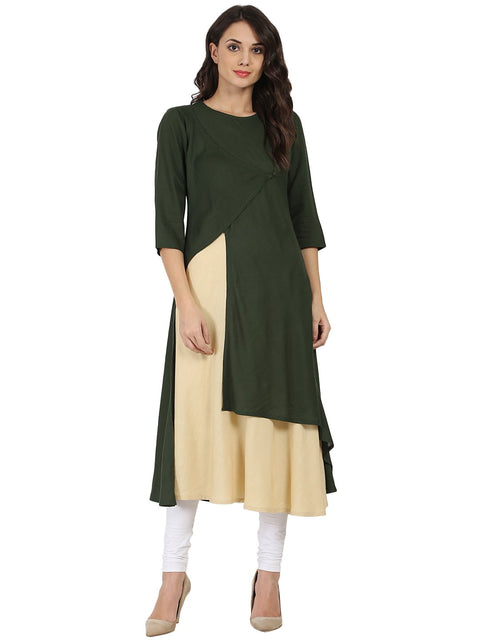 Green & off white 3/4th sleeve rayon double layer A-line kurta