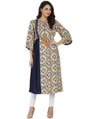 Blue printed 3/4th sleeve rayon Anarkali kurta with embroidery work