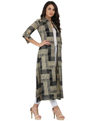 Beige & Black printed 3/4th sleeve cotton cape kurta with front open