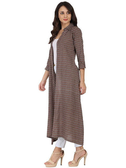 Brown printed 3/4th sleeve cotton kurta with front open