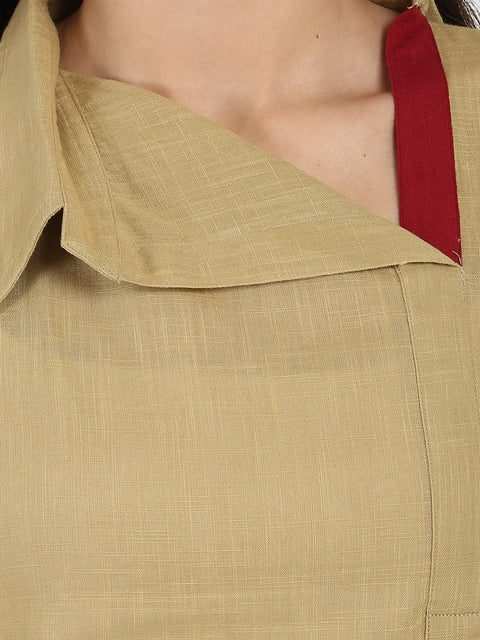 Beige 3/4th sleeve cotton slub straight kurta