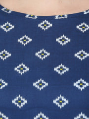 Blue printed 3/4th sleeve cotton double pocket Kurta with yellow flared ankle length skirt