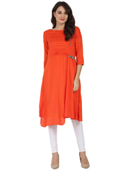 Orange 3/4th sleeve rayon slub A-line kurta with pleat work at yoke