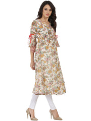 Off white flower printed 3/4th sleeve georgette Anarkali kurta