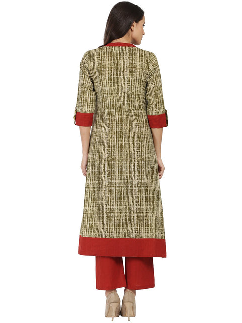 Green printed 3/4th Sleeve Cotton A-line kurta