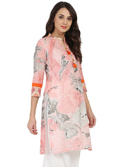 Peach marval printed 3/4th sleeve cotton kurta