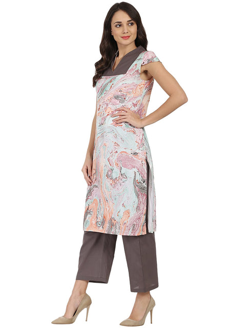 Multi Marbal printed Cotton sleeveless kurta with grey palazzo