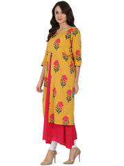 Mustard & Pink printed 3/4th sleeve cotton Double layer kurta