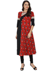 Black & red printed Half sleeve cotton A-line Kurta