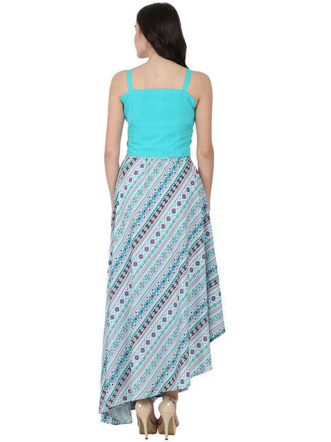 Blue Sleeveless crepe crop top with flared printed Assymetric skirt