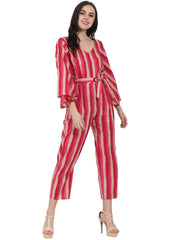 Red printed 3/4th sleeve cotton Jumpsuit